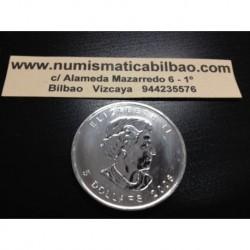 CANADA 5 DOLARES 2008 HOJA DE ARCE MONEDA DE PLATA PURA 9999 $5 DOLLARS SILVER COIN MAPLE LEAF 1 ONZA
