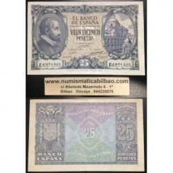 ESPAÑA 25 PESETAS 1940 ENERO 9 JUAN DE HERRERA Serie D.365 Pick 116 BILLETE EBC- SPAIN BANKNOTE