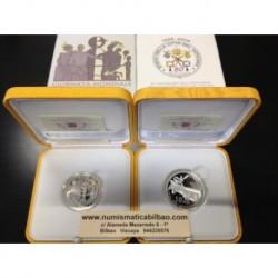 VATICANO 5 EURO + 10 EUROS 2009 ANIVERSARIO DEL ESTADO 2 MONEDAS DE PLATA PROOF ESTUCHE OFICIAL SILVER COINS