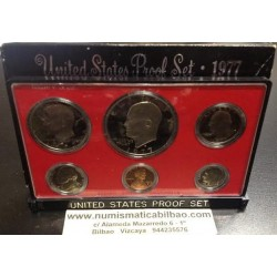 1977 UNITED STATES MINT PROOF SET 6 COINS ESTADOS UNIDOS 1+5+10 +25 CENTAVOS + 1/2 DOLAR KENNEDY + 1 DOLAR EISENHOWER NICKEL