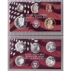 2002 UNITED STATES MINT SILVER PROOF 10 COINS ESTADOS UNIDOS 1+5+10+25 CENTAVOS + 1/2 DOLAR + 1 DOLAR PLATA @SIN ESTUCHE@
