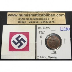 ALEMANIA 2 REICHSPFENNIG 1939 B ESVASTICA NAZI III REICH MONEDA DE COBRE @LUJO@ 1