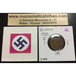 ALEMANIA 2 REICHSPFENNIG 1939 E ESVASTICA NAZI III REICH MONEDA DE COBRE SC 2