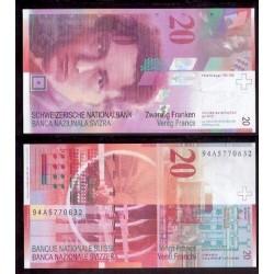 SUIZA 20 FRANCOS 1994 UNC PICK 68A SWITZERLAND FRANCS