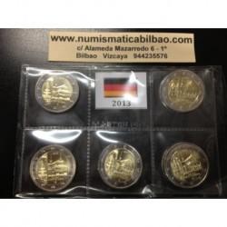 2 EUROS 2013 ALEMANIA IGLESIA EN BADEN SC A+D+F+G+J 5 MONEDAS SIN CIRCULAR