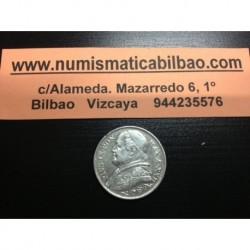 VATICANO 2 LIRAS 1867 R XXII PAPA PIO IX PLATA KM*189.1