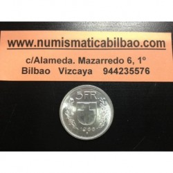 SUIZA 5 FRANCOS 1966 B GUILLERMO TELL PLATA KM*40 SILVER FRANCS