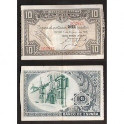 1937 EUSKADI 10 PESETAS BANCO de BILBAO EBC- 102821 @RARO@