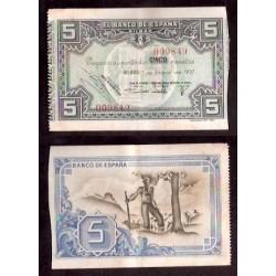 BILBAO EUSKADI 5 PESETAS 1937 CAJA DE AHORROS y MONTE DE PIEDAD MUNICIPAL DE BILBAO 009849 BILLETE EBC- EUZKADI PICK S.561