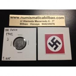 ALEMANIA 1 REICHSPFENNIG 1942 J ESVASTICA NAZI III REICH MONEDA DE ZINC