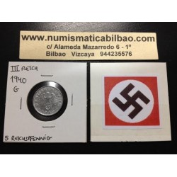 ALEMANIA 5 REICHSPFENNIG 1940 G ESVASTICA NAZI III REICH MONEDA DE ZINC