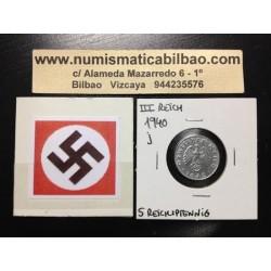 ALEMANIA 5 REICHSPFENNIG 1940 J ESVASTICA NAZI III REICH MONEDA DE ZINC