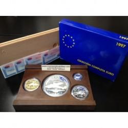 ESPAÑA 1 EURO 1997 + 5 EUROS 1997 + 25 EUROS 1997 + 200 EUROS 1997 HOMENAJE A LA AVIACION ORO+PLATA