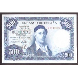 ESPAÑA 500 PESETAS 1954 PINTOR IGNACIO ZULOAGA SERIE S Pick 154 BILLETE SIN CIRCULAR SC @ARRUGA@ Spain banknote