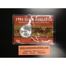 AUSTRALIA 1 DOLAR 1994 CANGURO MONEDA DE PLATA SC SILVER Kangaroo Känguru $1 Dollar OZ ONZA OUNCE @BLISTER@