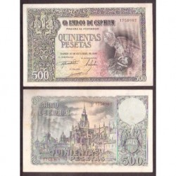 ESPAÑA 500 PESETAS 21 de OCTUBRE de 1940 ENTIERRO del CONDE ORGAZ Serie 1758082 @RARO BILLETE@ EBC