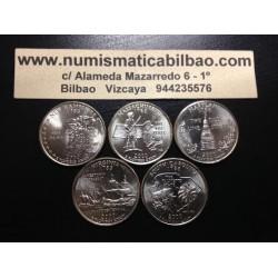 .ESTADOS UNIDOS 5 monedas x 25 CENTAVOS 2000 LETRA P ESTADOS NACIONALES NICKEL SC USA 50 STATE QUARTERS
