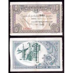 1937 EUSKADI 10 PESETAS MONTE DE PIEDAD EBC+ 542496 BILBAO