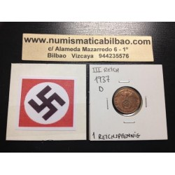 ALEMANIA 1 REICHSPFENNIG 1937 D ESVASTICA NAZI III REICH MONEDA DE COBRE SC