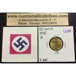 ALEMANIA 5 REICHSPFENNIG 1937 A ESVASTICA NAZI III REICH MONEDA DE LATON @LUJO@