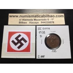 ALEMANIA 2 REICHSPFENNIG 1938 D ESVASTICA NAZI III REICH MONEDA DE COBRE SC 2