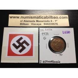 ALEMANIA 2 REICHSPFENNIG 1939 G ESVASTICA NAZI III REICH MONEDA DE COBRE @LUJO@ 2