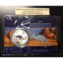 AUSTRALIA 1 DOLAR 2006 CANGURO MONEDA DE PLATA SC SILVER Kangaroo Känguru $1 Dollar OZ ONZA OUNCE @BLISTER@