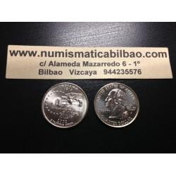 ESTADOS UNIDOS 1/4 DOLAR 25 CENTAVOS 2002 P SC INDIANA COCHE F1