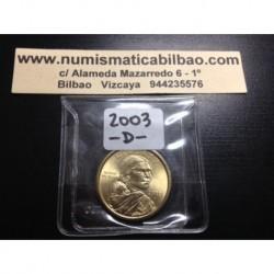 ESTADOS UNIDOS 1 DOLAR 2003 D INDIA SACAGAWEA MONEDA DE LATON SC USA $1 Dollar coin