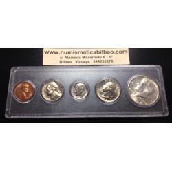 1969 WHITMAN UNCIRCULATED COIN SET Letra D 5 COINS ESTADOS UNIDOS 1+5+10+25 CENTAVOS + 1/2 DOLAR COBRE NICKEL PLATA