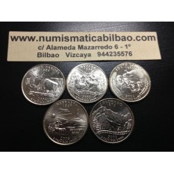 .ESTADOS UNIDOS 5 monedas x 25 CENTAVOS 2006 ESTADOS NACIONALES NICKEL SC USA 50 STATE QUARTERS