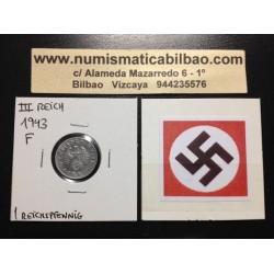 ALEMANIA 1 REICHSPFENNIG 1943 F ESVASTICA NAZI III REICH ZINC 2