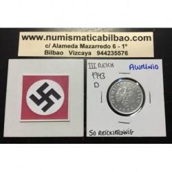 ALEMANIA 50 REICHSPFENNIG 1943 D ESVASTICA NAZI III REICH MONEDA DE ALUMINIO