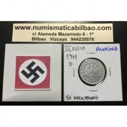 ALEMANIA 50 REICHSPFENNIG 1941 D ESVASTICA NAZI III REICH MONEDA DE ALUMINIO
