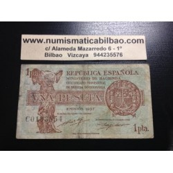 @OFERTA@ ESPAÑA 1 PESETA 1937 REPUBLICA ESPAÑOLA Serie C 0193854 Pick 94 BILLETE CIRCULADO @RARA@