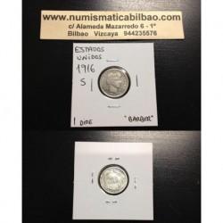 ESTADOS UNIDOS 10 CENTAVOS DIME 1916 S BUSTO DE BARBER KM.113 MONEDA DE PLATA MBC++ @RARA@ USA 10 cents silver coin