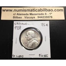 VATICANO 10 LIRAS 1937 PIO XI AÑO XVI PLATA SILVER VATICAN