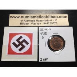 ALEMANIA 2 REICHSPFENNIG 1938 D ESVASTICA NAZI III REICH MONEDA DE COBRE @LUJO@