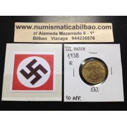 ALEMANIA 10 REICHSPFENNIG 1938 E ESVASTICA NAZI LATON EBC+ 2