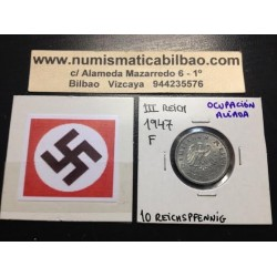 ALEMANIA Ocupación Aliada 10 REICHSPFENNIG 1947 F SIN ESVASTICA NAZI MONEDA DE ZINC 2