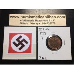 ALEMANIA 2 REICHSPFENNIG 1939 J ESVASTICA NAZI III REICH MONEDA DE COBRE @LUJO@