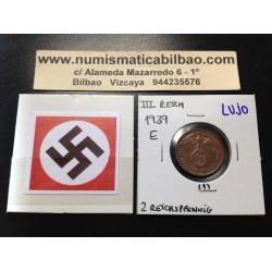 ALEMANIA 2 REICHSPFENNIG 1939 E ESVASTICA NAZI III REICH MONEDA DE COBRE @LUJO@ 1