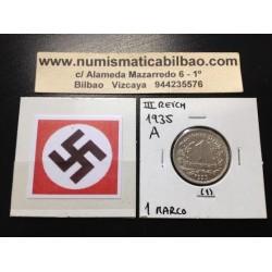 ALEMANIA 1 MARCO 1935 A AGUILA NAZI III REICH MONEDA DE NICKEL REICHSMARK @LUJO@ 1