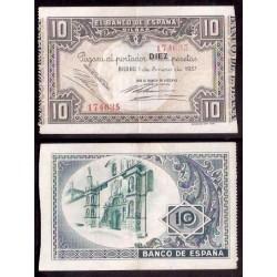 1937 EUSKADI 10 PESETAS BANCO de VIZCAYA EBC+ 209671 BILBAO