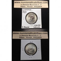 .LUXEMBURGO 5 FRANCOS 1929 DUQUESA CHARLOTTE KM.38 MONEDA DE PLATA SC Luxembourg silver francs coin