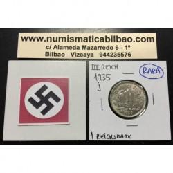 ALEMANIA 1 MARCO 1935 J AGUILA NAZI III REICH MONEDA DE NICKEL REICHSMARK @RARA@