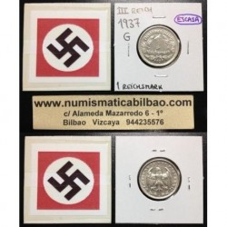ALEMANIA 1 MARCO 1937 G AGUILA NAZI III REICH MONEDA DE NICKEL REICHSMARK SC