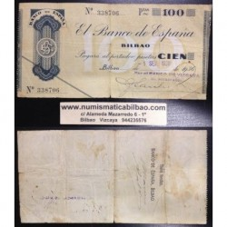 BILBAO 100 PESETAS 1936 BANCO DE VIZCAYA SIN SERIE 338706 Pick S555 GOBIERNO DE EUSKADI BILLETE / TALON LOCAL GUERRA CIVIL