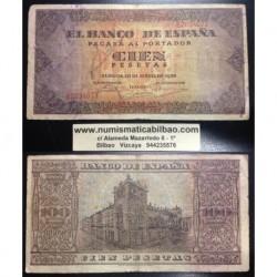 ESPAÑA 100 PESETAS 1938 BURGOS CASA DEL CORDON Serie E 2034073 Pick 113 BILLETE MUY CIRCULADO @ROTOS@ Spain banknote