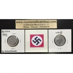 ALEMANIA 50 REICHSPFENNIG 1942 E ESVASTICA NAZI III REICH MONEDA DE ALUMINIO